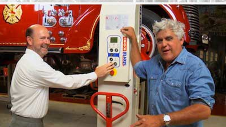 When it comes to lifting heavy duty vehicles in Jay Leno's Garage, wireless mobile column lifts from Stertil-Koni are up to the task. As Jay and his team know well, performance and safety are most important. This lift requires no external power source to operate, no interconnecting cables, hence there is no risk of tripping. It requires minimal set up time and provides maximum access to the vehicle.