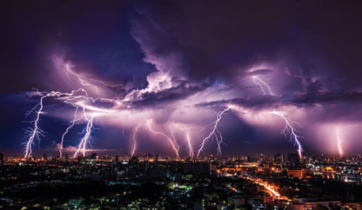 Bigstock Lightning Storm Over City In P 91738646